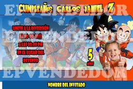 Tarjetas De Invitacion A Cumpleanos Dragon Ball Para Imprimir