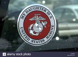 P18 099 Sticker On Truck Window Daughter Is A Us Marine Stock Photo Alamy