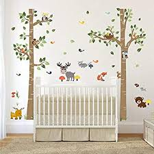 Amazon Com Decalmile Forest Animals Birch Tree Wall Decals Deer Owl Fox Wall Stickers Baby Nursery Kids Bedroom Playroom Wall Decor H 62 Inches Arts Crafts Sewing