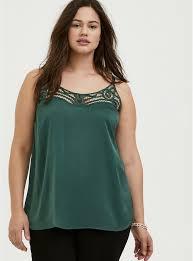 Plus Size - Sophie - Green Satin Soutache Inset Swing Cami - Torrid
