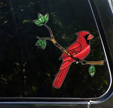 Clr Car Cardinal Bird Perched On Branch Stained Glass Etsy