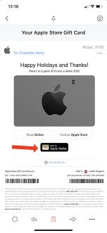 an apple gift card to wallet in ios 13