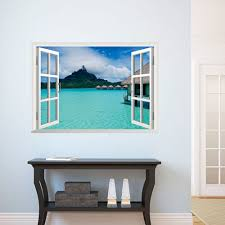 Window View Removable 3d Sunshine Beach Wall Art Sticker Vinyl Decal Mural Decor