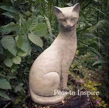 siamese cat stoneware garden ornament