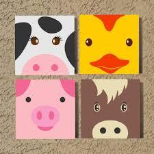 Hand Painted Canvas Farm Animals Kids Nursery Wall Art