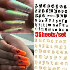 3d Nail Art Sticker Adhesive Transfer Tips Decal Manicure English Letter Decor Ebay