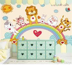العرف حجم 3d صور خلفيات غرفة المعيشة جدارية رسمت باليد Rainbow