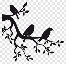 Paper Sticker Branch Bird Wall Decal Silhouette Transparent Png