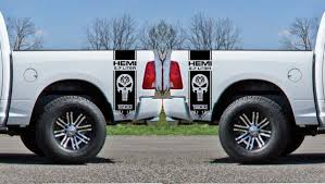 Product 2x Dodge Hemi 5 7 Liter Ram 1500 Bed Side Vinyl Decals Graphics Rally Stripe