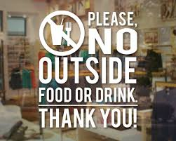 Please No Food Or Drink Store Business Thank You Sign Vinyl Decal For Window Wall Store Decals