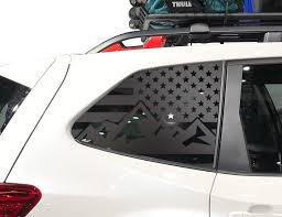 Amazon Com Mountain Usa American Flag Decals For Subaru Forester In Matte Black For Side Windows Fits 2019 2020 Qb17a Handmade