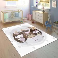 Else Little Gray Cute Girls Bohemian 3d Print Non Slip Microfiber Children Kids Room Decorative Area