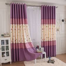 Purple Star Embroidery Poly Cotton Blend Color Block Kids Curtains