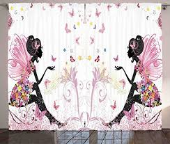 Girls Curtains Decor By Ambesonne Pink Butterfly Girl With Floral Dress Flower Fairy Angel Wings Folklore Kids Print Livi Girl Curtains Window Drapes Ambesonne
