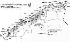 Pictured Rocks Hikers Challange Map Pictured Rocks National Lakeshore Michigan Usa Mappery Pictured Rocks National Lakeshore Picture Rocks Hiking Map
