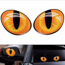 Vova Modern 10x8cm Car Decal 3d Cute Cat Eyes Stickers Graphics Simulation 3d Vinyl Decal For Rearview Mirror Car Head Engine Cover Windows Decoration