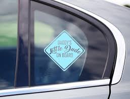 Daddy S Little Dude On Board Car Decal Funny Decal Baby Etsy