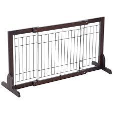 Pawhut Wooden Flexible Pet Fence Free Standing Adjustable Indoor Secure Gate Separation Guard Dog Barrier Wide 61 103 Cm On Onbuy