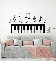 Vinyl Wall Decal Piano Music Notes Black White Art Decor Stickers Mura Wallstickers4you