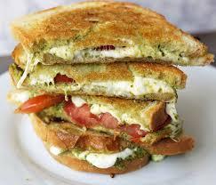 pesto panini with fresh mozzarella and