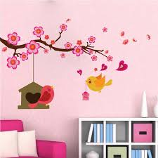 Nursery Bird Branch Wall Decal Peel And Stick Baby Girl Room Decals Nu American Wall Designs