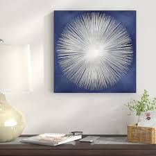 East Urban Home Silver Sunburst on Blue by Abby Young - Wrapped ...