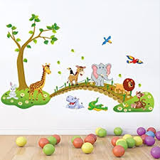 Amazon Com Kaimao Cartoon Animals Decorative Wall Stickers Removable Wallpapers Home Decals For Kids Baby Bedrooms Nursery Schools Home Improvement