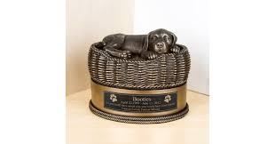 Large Bronze Dog in Basket Cremation Urn