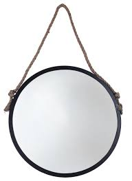 round mirror with metal frame rope