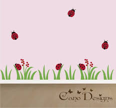 Ladybug Village Border Vinyl Wall Decal 13 6 Ft Long Grass Etsy