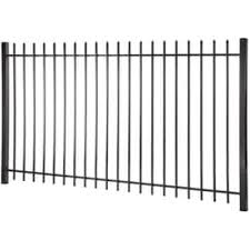 Actual 4 96 Ft X 7 97 Ft Lafayette Black Steel Pressed Point Decorative Fence Panel Brickseek