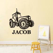 Personalized Name Wall Sticker Farm Tractor Vinyl Wall Decal Boys Room Decor Design Tractor Wall Poster Custom Name Mural Ay1616 Wall Stickers Aliexpress