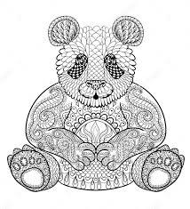 Zentangle Panda Print Out Drawing Kleurplaten Dieren
