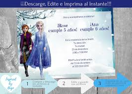 Invitacion Doble Frozen 2 Fiesta Cumpleanos Invitacion Frozen Ii