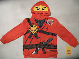 New Lego Ninjago Kai Boys Hoodie Sweatshirt Sz 7 Costume Red Ninja ...