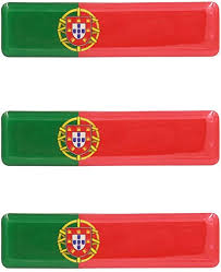 Amazon Com Portuguese Flag Resin Domed 3d Decal Car Sticker Set Of 3