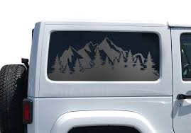 Amazon Com Mountain Scene Side Decals For Jeep Wrangler Jk 2 Door In Matte Black For Side Windows Hs39m A Handmade