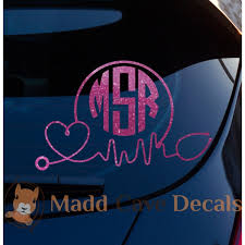 Glitter Stethoscope Ekg Monogram Vinyl Decal Window Laptop Phone Tablet Tumbler Rambler Colster