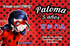 Tarjetas Invitaciones Cumpleanos Miraculous Ladybug X10uni
