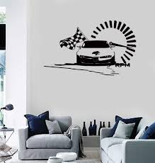 Wall Stickers Vinyl Decal Speed Racing Checked Flag Car Nascar Z2139 Wallstickers4you