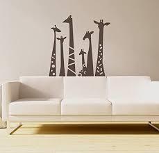 Amazon Com N Sunforest Set Of 6 Animal Wall Sticker Giraffe Necks Safari Vinyl Wall Art Wall Decal Living Room Baby S Room Decor Home Kitchen