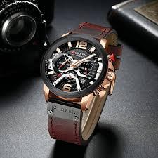 Đồng hồ doanh nhân nam chống nước Curen 8329 - Dây nâu mặt đen