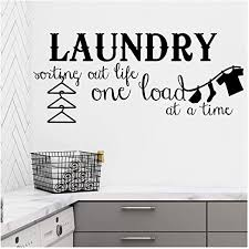 Amazon Com Laundry Sorting Out Life One Load At A Time Vinyl Lettering Wall Decal Sticker 21 H X 48 L Black Home Kitchen