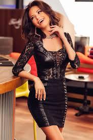 black leather lace dress inasari
