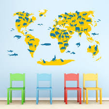 Map Of The World Wall Sticker Animals Patterned Cutzz