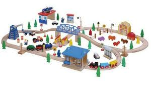 brio wooden crane train 24pc play set