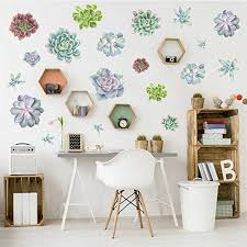 Amazon Com Chromantics Succulent Variety Watercolor Wall Decal Kit Flower Wall Decal Home Kitchen