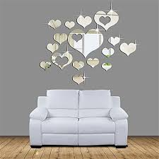 Amazon Com 15 Pcs Acrylic Mirror Wall Stickers E Scenery Grand Sale Love Heart Removable Diy 3d Wall Decals Mural Art Wallpaper For Room Home Nursery Wedding Party Birthday Office Window Decor Silver Home