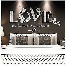 Amazon Com Wociaosmd Wall Sticker Removable 3d Leaf Love Mirror Wall Sticker Art Vinyl Decals Bedroom Decor White Arts Crafts Sewing