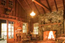 the rustic stone fireplace